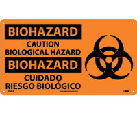 Biohazard Caution Biological Hazard (Bilingual W/Graphic) 10X18 Rigid Plastic