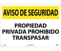 Aviso De La Seguridad Privada Prohibido Traspasar 14X20  Rigid Plastic
