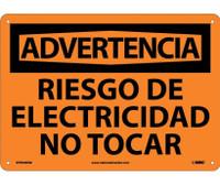 Adventencia Riesgo De Electricidad No Tocar 10X14 Rigid Plastic