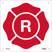 "R Maltese Cross Symbol 9X9 .040 Alum W/ Egp Reflective Four 3/16 Holes 1/2"" Radius Corners"