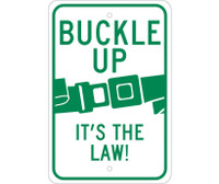 Buckle Up It'S The Law 18X12 .080 Reflective Alum