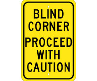 Blind Corner Proceed With Caution 18X12 .080 Egp Ref Alum