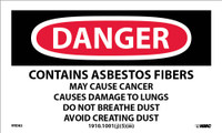 Labels Danger Contains Asbestos Fibers. . . 3X5 Ps Vinyl 500/Rl