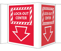 Visi Sign Lockout Center Red 5 3/4X8 3/4 Rigid Vinyl
