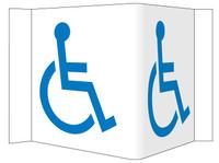 Visi Sign Handicapped Symbol White 5 3/4X8 3/4 Rigid Vinyl