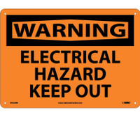 Warning Electrical Hazard Keep Out 10X14 Rigid Plastic