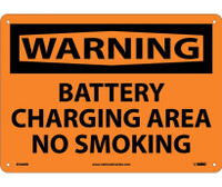 Warning Battery Charging Area No Smoking 10X14 Rigid Plastic