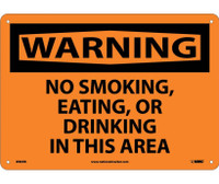 Warning No Smoking Eating Or Drinking In This Area 10X14 Rigid Plastic