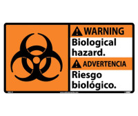 Warning Biological Hazard (Bilingual W/Graphic) 10X18 Ps Vinyl