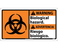 Warning Biological Hazard/ (Bilingual W/Graphic) 10X18 Rigid Plastic