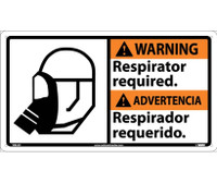 Warning Respirator Required (Bilingual W/Graphic) 10X18 Rigid Plastic
