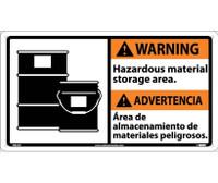 Warning Hazardous Material (Bilingual W/Graphic) 10X18 Rigid Plastic