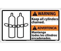 Warning 10 X 18 Warning Keep All Cylinders (Bilingual W/Graphic) 10X18 Rigid Plastic