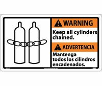 Warning 10 X 18 Warning Keep All Cylinders (Bilingual W/Graphic) 10X18 Rigid Plastic