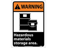 Warning Hazardous Materials Storage Area (W/Graphic) 14X10 Rigid Plastic