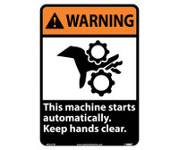 Warning This Machine Starts Automatically Keep Hands Clear (W/Graphic) 14X10 Ps Vinyl