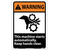 Warning This Machine Starts Automatically Keep Hands Clear (W/Graphic) 14X10 Rigid Plastic