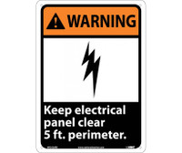 Warning Keep Electrical Panel Clear 5 Ft. Perimeter 14X10 Rigid Plastic