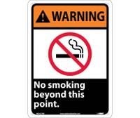 Warning No Smoking Beyond This Point 14X10 Rigid Plastic