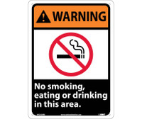 Warning No Smoking Eating Or Drinking In This Area 14X10 Rigid Plastic