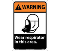 Warning Wear Respirator In This Area 14X10 Rigid Plastic
