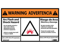 Warning Arc Flash And Shock Hazard Bilingual (Graphic) 3X5 Ps Vinyl 5/Pk