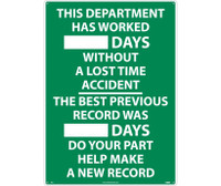 This Department Has Worked __Days Without A Lost Time Accident...The Best Previous Record Was ___ Days Do Your Part Help Make A New Record 28X20 .040 Alum