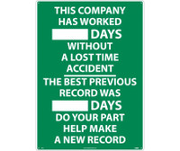 This Company Has Worked ___Days Without A Lost Time Accident...The Best Previous Record Was ___Days Do Your Part Help Make A New Record 28X20 .040 Alum