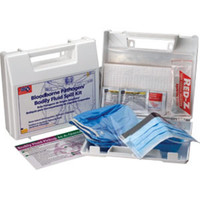 24-Piece Bloodborne Pathogen/Body Fluid Spill Kit, Plastic Case - 214UFAO