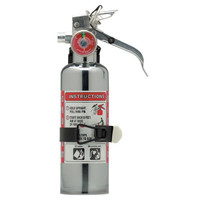 Amerex® 1 lb BC Chrome Extinguisher w/ Aluminum Valve & Vehicle Bracket - 54