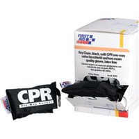 CPR Face Shield w/ Latex-Free 1-Way Valve, 2 Exam Gloves, & Nylon Pouch on Keychain - J5101