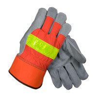 PIP PIP® Select Shoulder Split Cowhide Leather Palm Glove with Hi-Vis Nylon Back - Rubberized Safety Cuff - 125-7563
