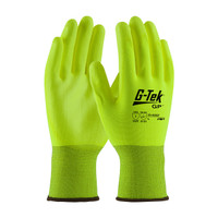 PIP G-Tek Hi-Vis Seamless Knit Polyester Glove with Polyurethane Coated Smooth Grip on Palm & Fingers - 33-425LY