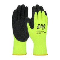 PIP G-Tek Hi-Vis Seamless Knit Brushed Acrylic Glove with Latex Coated Crinkle Grip on Palm & Fingers - 41-1425