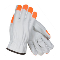 PIP PIP® Regular Grade Top Grain Cowhide Leather Drivers Glove with Hi-Vis Fingertips - Keystone Thumb - 68-163HV
