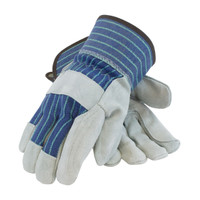 "PIP  ""A/B"" Grade Shoulder Split Cowhide Leather Double Palm Glove with Fabric Back - Rubberized Safety Cuff - 82-7763"