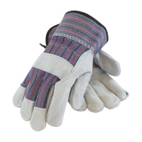 "PIP PIP® ""B/C"" Grade Shoulder Split Cowhide Leather Palm Glove with Fabric Back - Rubberized Safety Cuff - 84-7532"
