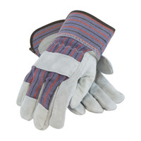 PIP  Economy Grade Shoulder Split Cowhide Leather Palm Glove with Fabric Back - Rubberized Safety Cuff - 85-7500