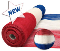"USA Red White & Blue Flame Retardant 1/4"" Mesh Debris Netting - 4' x 150' - Skid Quantity"