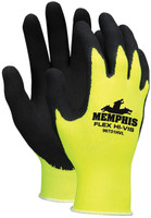 Memphis Hi-Viz Flex Black Foam Latex 96731HV - Dozen [S-XL]