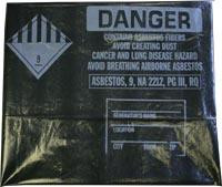 6 Mil Black 30x40 Printed Asbestos Bags 100/roll