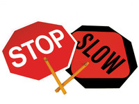 "SAFE-T-PADDLE SIGN, STOP/SLOW, 10"" HANDLE"