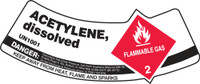 "Acetylene, Dissolved Flammable Gas, Danger Keep Away From Heat, Flame Or Sparks 2"" x 5 1/4"" - MCSLACR"