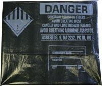 """6 Mil Black 38""""x60"""" Printed Asbestos Bags 50/roll"""