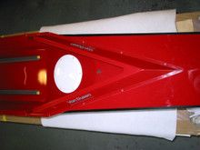 Advantage - bow deck and seatdeck, showing splashboard, rubber stopper, inspection port, tracks, and handle