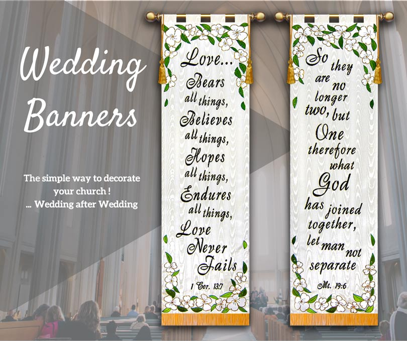 Nice set of Church Wedding Banners that can decorate your church for a wedding