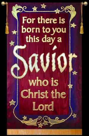 for there is born savior christmas praise banner