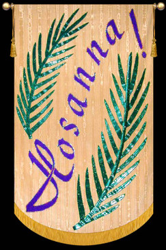 Shown on Gold Background with Purple Text and Green Leaves