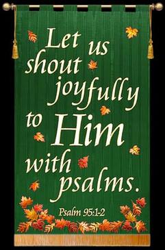 Let us shout Joyfully - Green, Square, Leaves