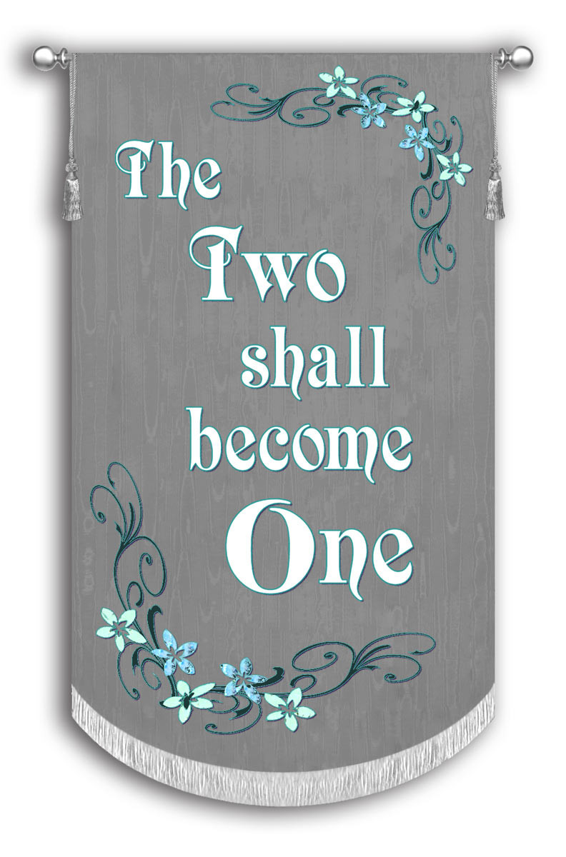 The Two Shall Become One Wedding Banner Christian